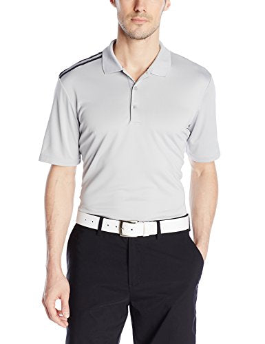 adidas Golf Men's Climacool 3-Stripes Polo Short Sleeve Shirt, Grey / Black