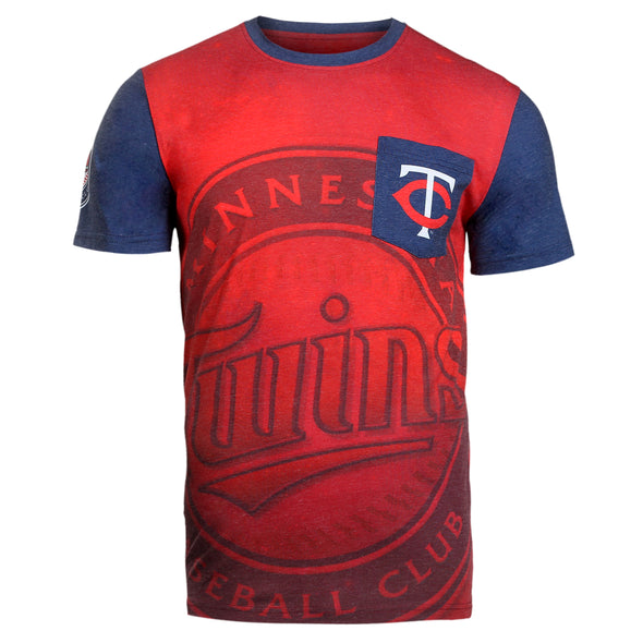KLEW MLB Men's Minnesota Twins Big Graphics Pocket Logo Tee T-shirt, Red