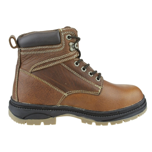 NFL Men's Atlanta Falcons Steel Toe Lace Up Leather Work Boots - Brown