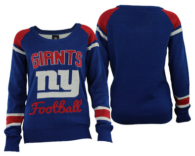 Forever Collectibles NFL Women's New York Giants Glitter Scoop Neck Sweater