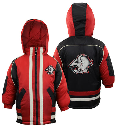 Buffalo Sabres NHL Boys Toddlers Vintage Full Zip Hooded Bomber Jacket Coat