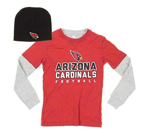 Arizona Cardinals NFL Youth Boys Faux Layered Shirt with Knit Beanie Hat Set