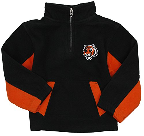 Cincinnati Bengals NFL Football Kids Boys 1/4 Zip Micro Fleece Jacket, Black