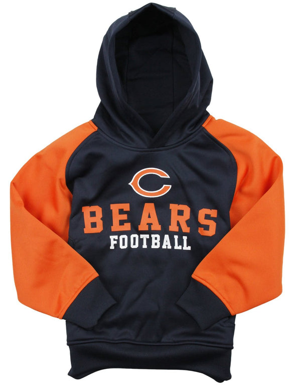NFL Little Boys Kids Chicago Bears Team Performance Pullover Hoodie, Navy / Orange