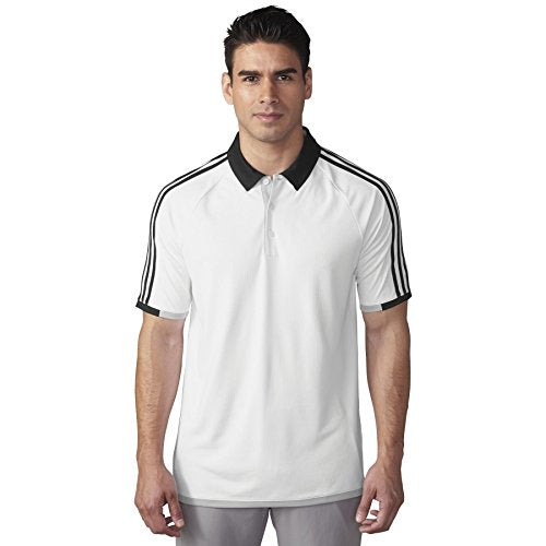 Adidas Golf Men's Climachill 3-Stripes Competition Polo Short Sleeve Shirt, White / Black
