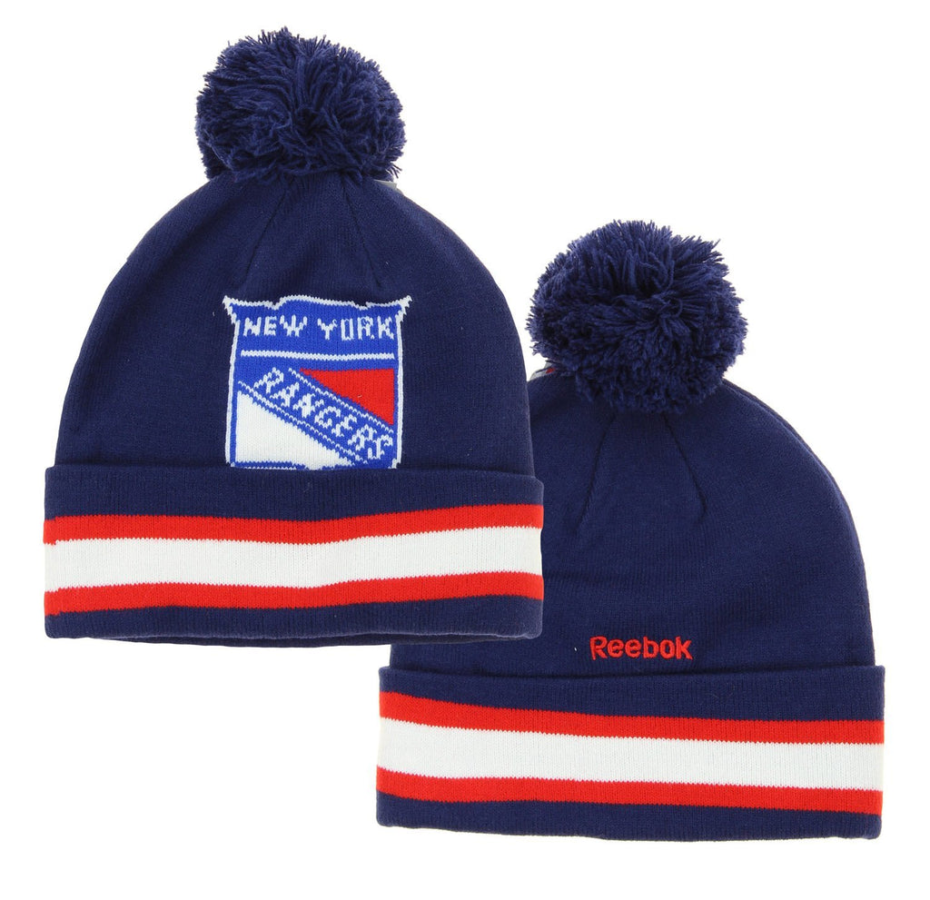 NHL Reebok New York Rangers Youth Face Off Cuffed Knit Winter Hat With Pom bc09d189524