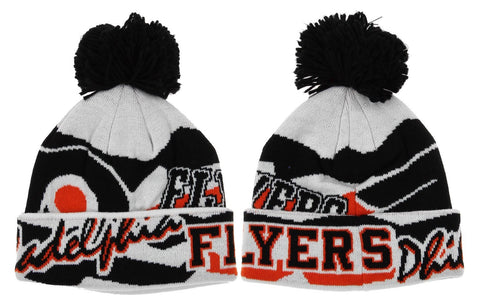 NHL Reebok Phildelphia Flyers Youth Enforcer Knit Winter Hat With Pom, White