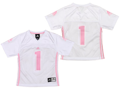 adidas Boise State Broncos NCAA Youth Girl's #1 Fashion Jersey Shirt, White/Pink