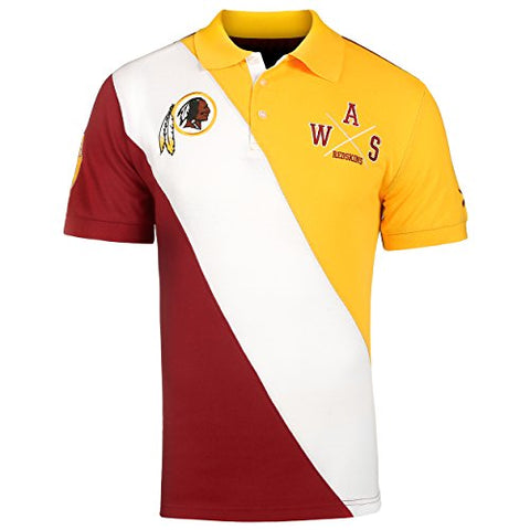 KLEW NFL Football Men's Washington Redskins Rugby Diagonal Stripe Polo Shirt