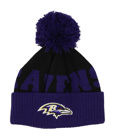 Outerstuff NFL Toddlers Baltimore Ravens Block Wordmark Cuff Pom, OSFM