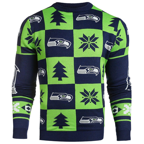 Forever Collectibles NFL Men's Seattle Seahawks 2016 Patches Ugly Sweater