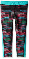 Puma Kids / Youth Girls Stripe Printed Capri Leggings, Black Stripe Glitch Print