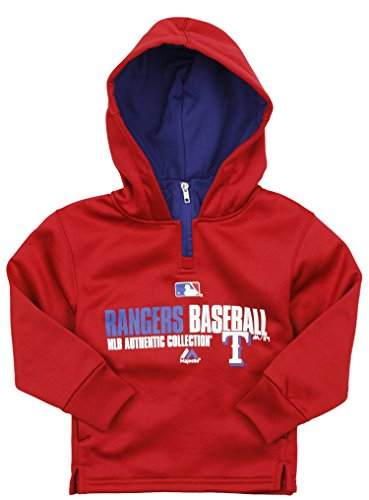 Outerstuff MLB Baseball Kids Texas Rangers Therma Base Performance Hoodie, Red