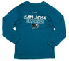 Reebok NHL Youth Boy's San Jose Sharks Long Sleeve Center Ice T-Shirt, Blue