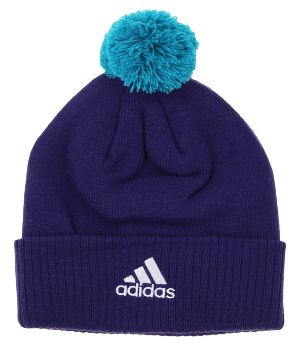 """Adidas NBA Youth Charlotte Hornets Cuffed Knit With Pom Hat, Purple"""