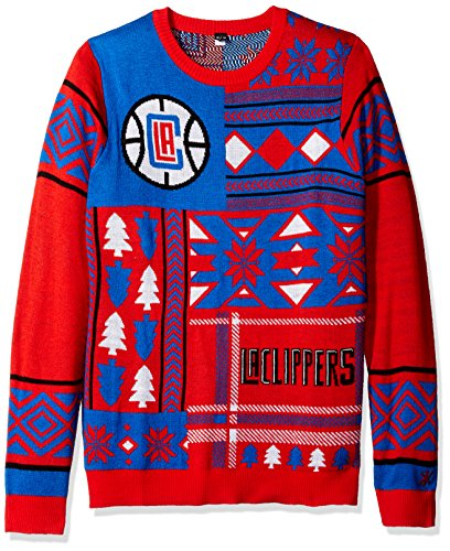 Klew NBA Men's Los Angeles Clippers Patches Ugly Sweater, Red