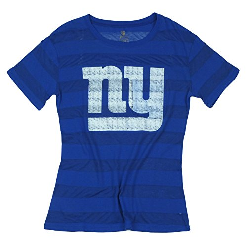 NFL Juniors New York Giants Short Sleeve Bolder Striped Tee T-Shirt, Blue