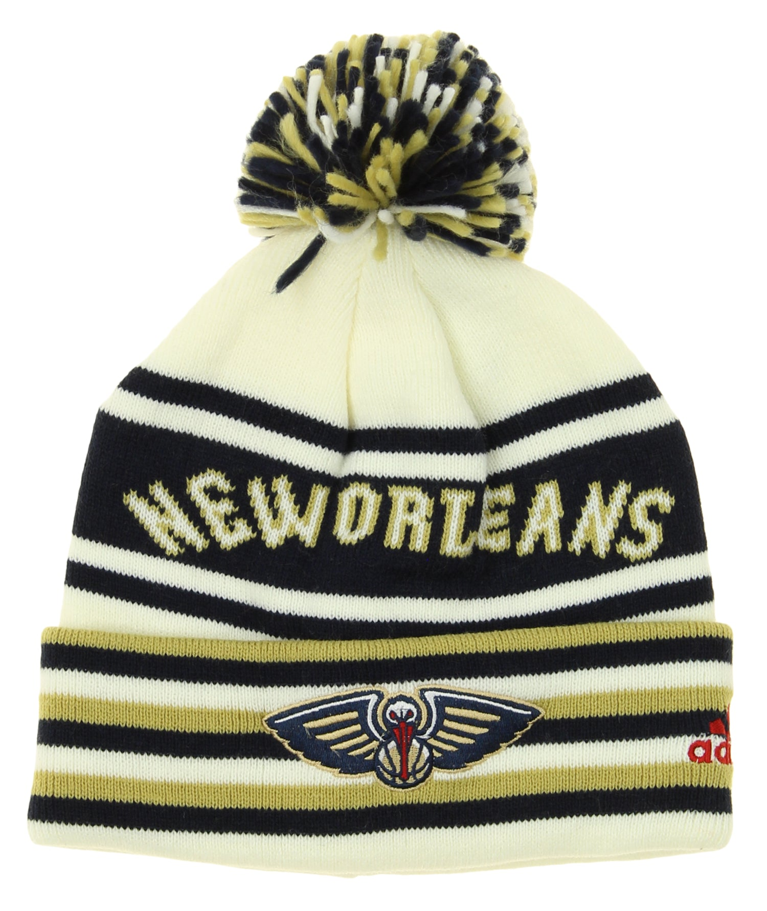 Adidas Nba Youth New Orleans Pelicans Cuffed Knit Beanie With Pom Hat Osfm