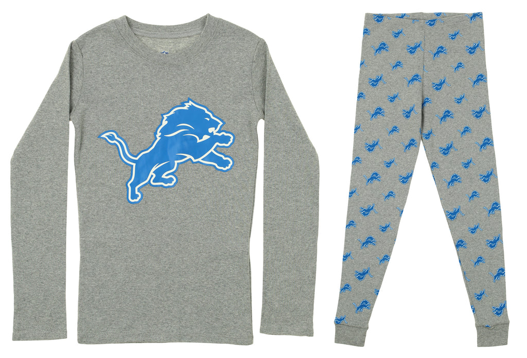 f3e3af1d Outerstuff NFL Youth Detroit Lions 2-piece Long Sleeve Tee and Pant Sleep  Set, Gray