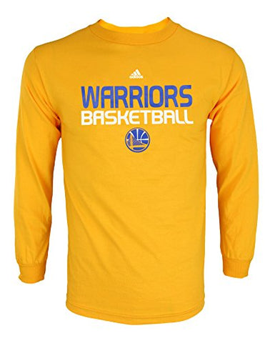Adidas NBA Mens Golden State Warriors Athletic Long Sleeve Tee, Yellow