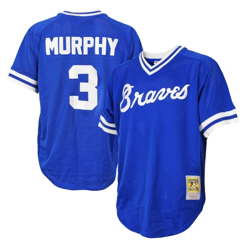 46706c0a4 Atlanta Braves MLB Men's Dale Murphy # 3 Authentic Throwback Jersey - Blue