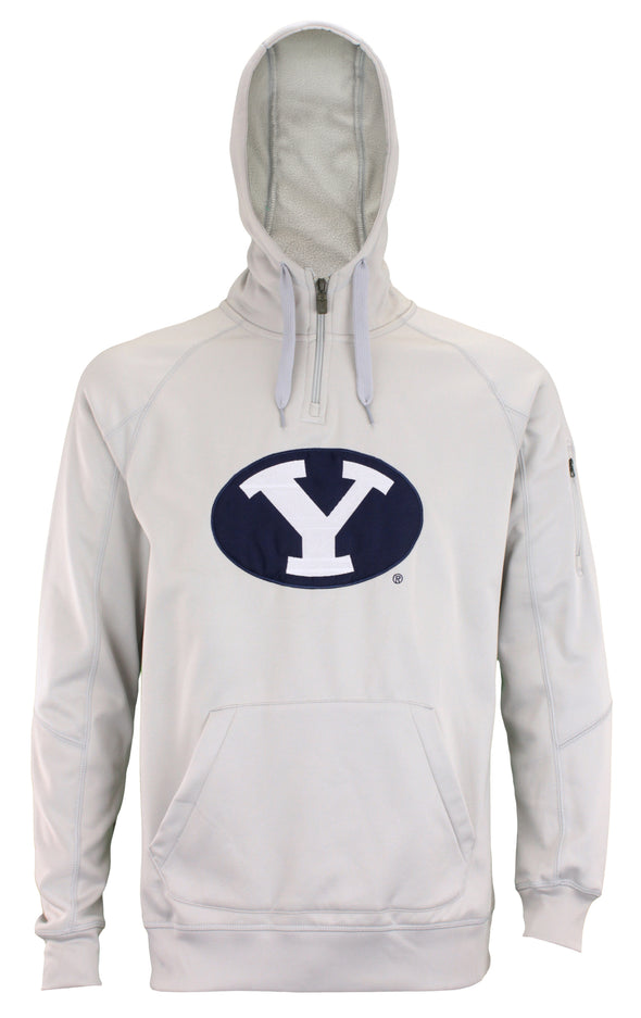 OuterStuff NCAA Men's Brigham Young Cougars Fan Basic 1/4 Zip Hoodie, Grey