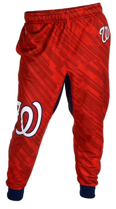 KLEW MLB Men's Washington Nationals Cuffed Jogger Pants, Red