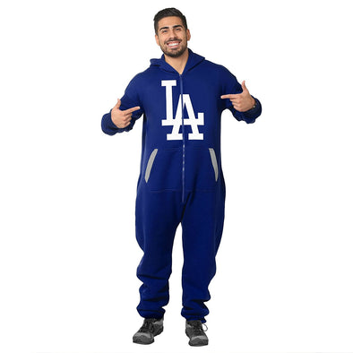 Forever Collectibles MLB Unisex Los Angeles Dodgers One Piece Logo Jumpsuit, Blue