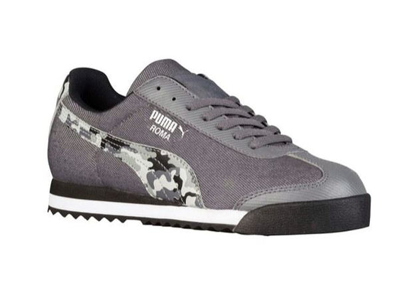 Puma Big Kids Roma Denim Camo Jr Sneakers Shoes - Black & Gray