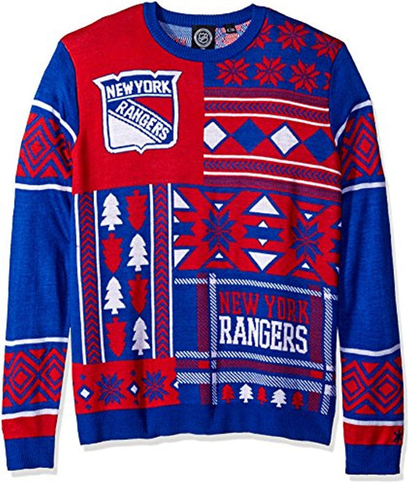 Klew NHL Men's New York Rangers Patches Ugly Sweater, Blue/Red
