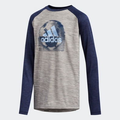 adidas Boy's Youth Raglan Sport Ball Tee, Navy/Grey