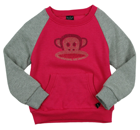 Paul Frank Toddler Girl's Rhinestone Julius Raglan Pull Over Sweatshirt