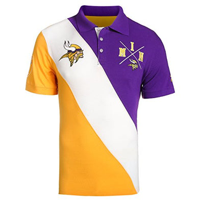 KLEW NFL Football Men's Minnesota Vikings Diagonal Rugby Stripe Polo Shirt