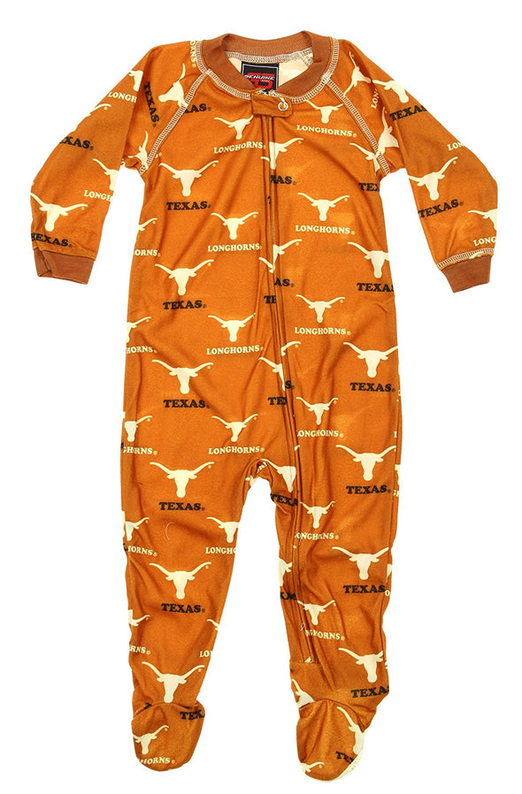 NCAA Infants Texas Longhorns Raglan Zip Up Coverall Footie Pajamas, Orange