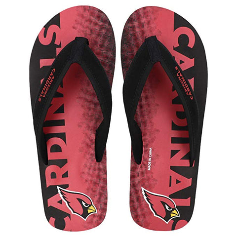 FOCO NFL Men's Arizona Cardinals Contour Fade Wordmark Thong Sandals