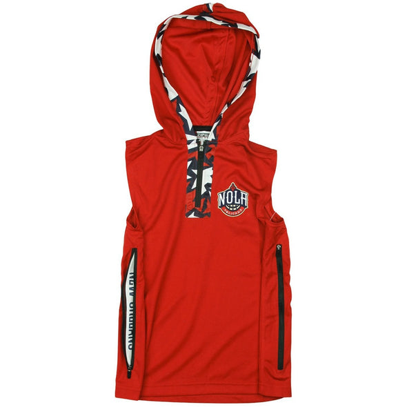 Zipway NBA Youth New Orleans Pelicans Dino 1/4 Zip Hooded Muscle Shirt, Red