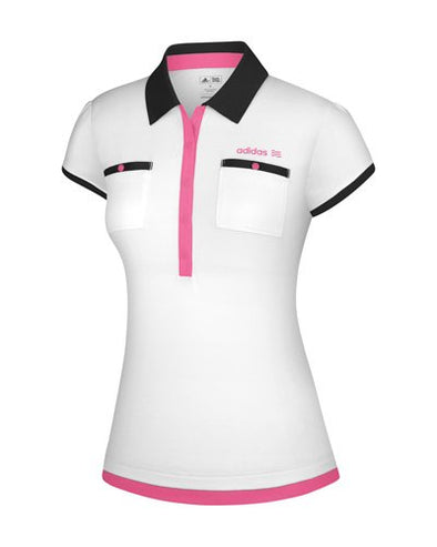 Adidas Womens FP Short Sleeve White Based Golf Pocket Polo Polos Shirts