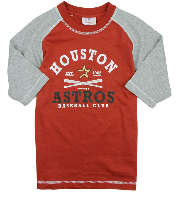 MLB Youth and Little Boys Kids Houston Astros Baseball Raglan Shirt, Brick Red