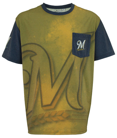 KLEW 2016 MLB Men's Milwaukee Brewers Cotton Poly Pocket Logo Tee T-shirt