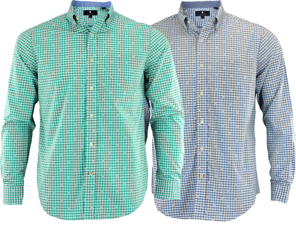 Argyle Culture Men's Button Up Mini Checkered Shirt, Color Options