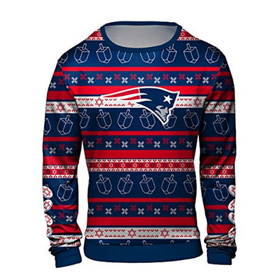 Forever Collectibles NFL Men's New England Patriots Hanukkah Ugly Crew Neck Sweater