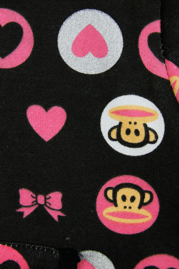 Paul Frank Little Girl's Hearts and Bow Zip Up Hoodie Sweatshirt, Black / Pink