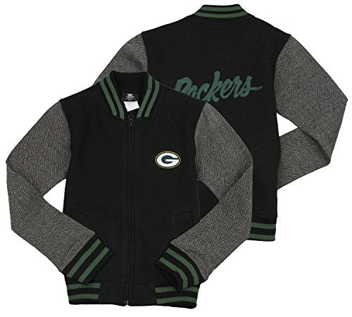 NFL Football Youth Girl's Green Bay Packers Varsity Full Zip Jacket, Black