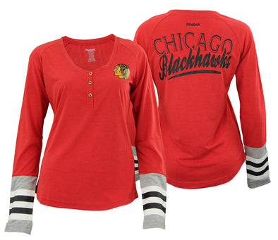 Reebok NHL Chicago Blackhawks Women's T-Shirt Long Sleeve Henley Striped