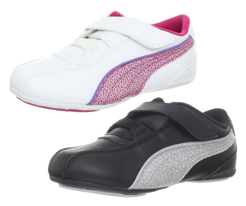 Puma Tallula Glamm V Little Kids Girls Sneaker Velcro Shoes - Black and White