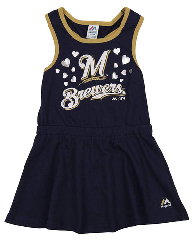 Majestic MLB Little Girls Milwaukee Brewers Cris Cross Tank Dress
