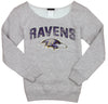 NFL Football Youth Girl's Baltimore Ravens Finals Scoop Neck Crew Sweatshirt, Grey