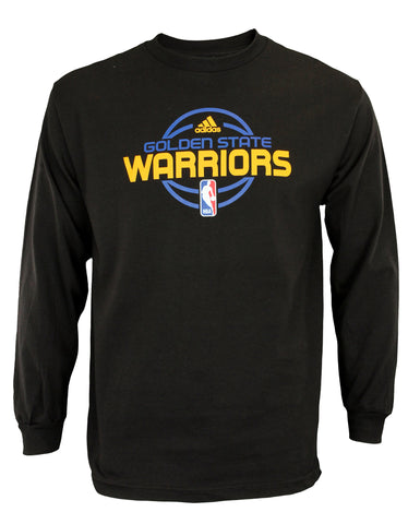 Adidas NBA Mens Golden State Warriors Simple Logo Long Sleeve Tee Shirt, Black