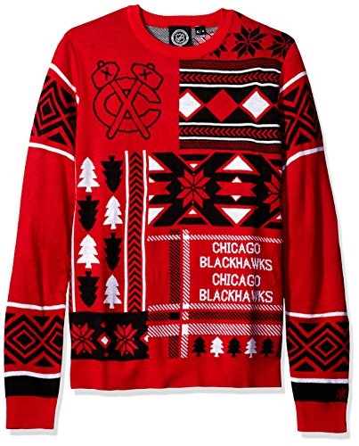 Klew NHL Men's Chicago Blackhawks Patches Ugly Sweater, Red