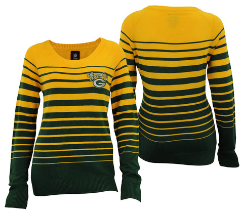 Forever Collectibles NFL Women's Green Bay Packers Stripes Scoop Neck Sweater
